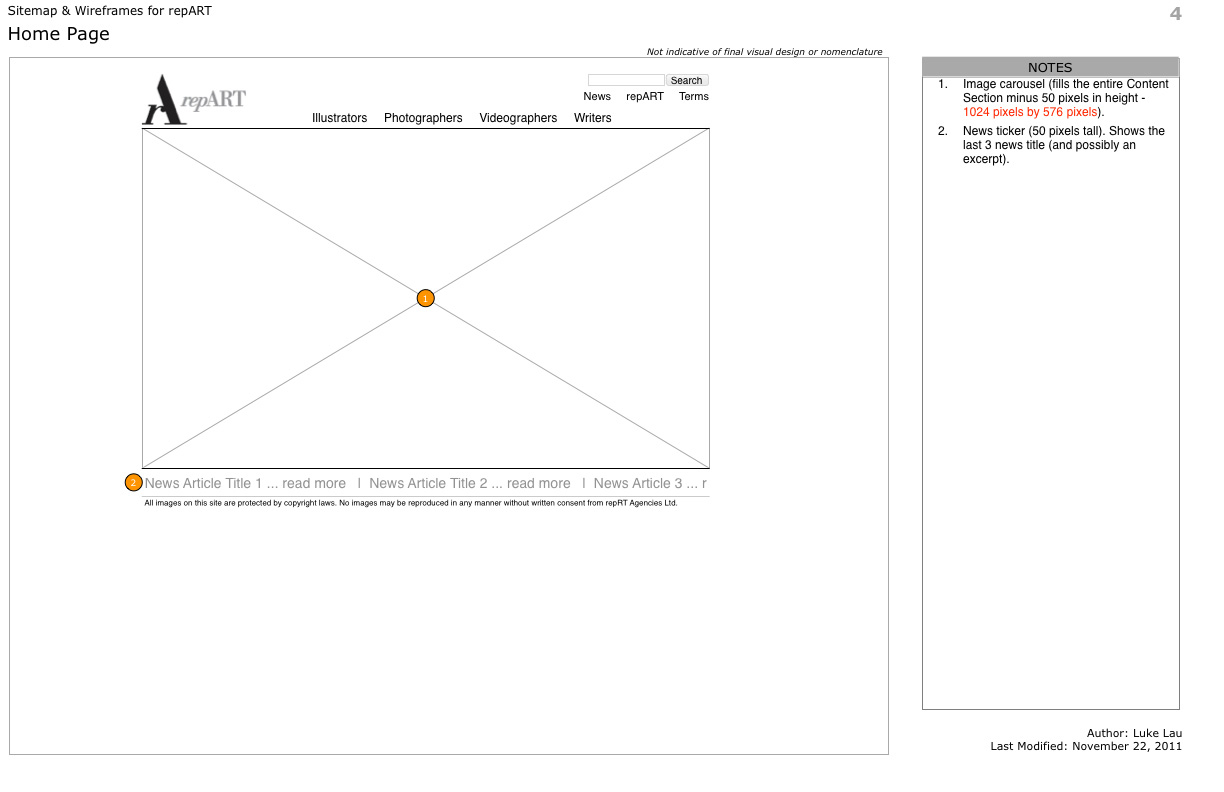 repART - Information Architecture - Wireframe - Home Page