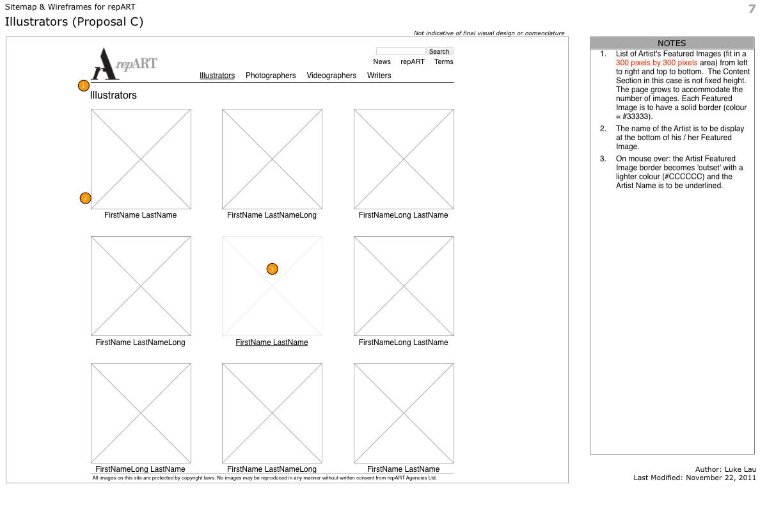 repART - Information Architecture - Wireframe - Illustrators - Option C