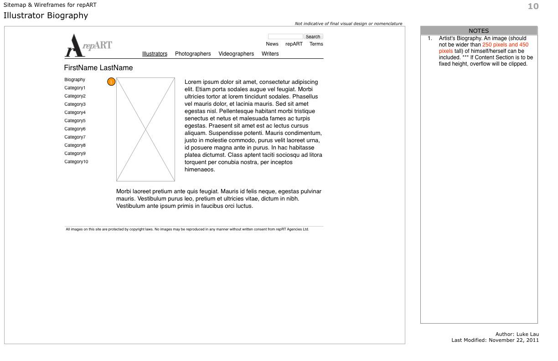 repART - Information Architecture - Wireframe - Illustrators - Single Illustrator - Biography
