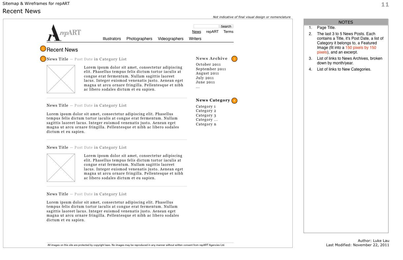 repART - Information Architecture - Wireframe - Recent News