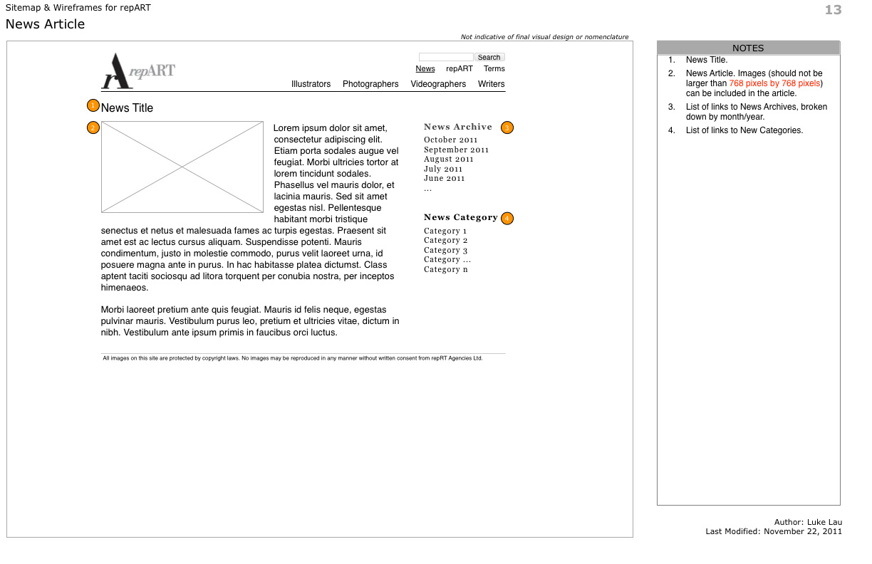 repART - Information Architecture - Wireframe - News - Single News Article